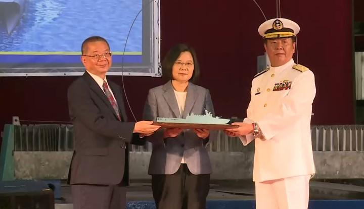 蔡英文總統上午親自到宜蘭蘇澳主持海軍「高效能艦艇後續艦三艘及快速布雷艇四艘」 開工典禮。記者陳煜彬/攝影