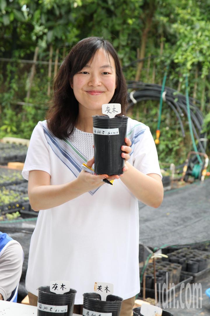 寶成集團50周年慶,今動員員工,在大肚山上進行原生林復育活動,要許孩子一片森林,執行長蔡佩君也動手復育種子。記者黃寅/攝影