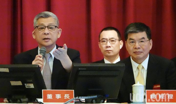 國泰金上午舉行股東會,由董事長蔡宏圖(左)與總經理李長庚(右)主持。記者杜建重/攝影