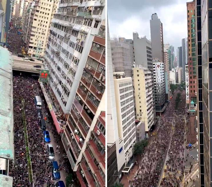 香港民眾不滿特首林鄭月娥,僅暫緩不撤回「逃犯條例」,16日新一波「反送中」大遊行,參與人潮更上一層樓,預計將超過144萬;不少民眾拍攝到縮時畫面,不見終點的人潮好壯觀。圖片擷取Twitter/@ChloeWhiteaker、@elaineyyly