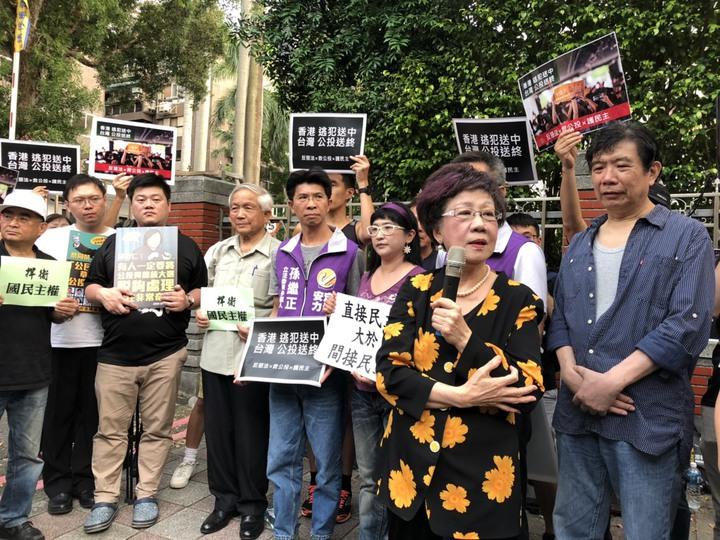 前副總統呂秀蓮(前排拿麥克風者)反對立法院將舉行臨時會修改公投法,批評目前政院版不是頭痛醫腳,而是頭痛鋸腿。記者丘采薇/攝影