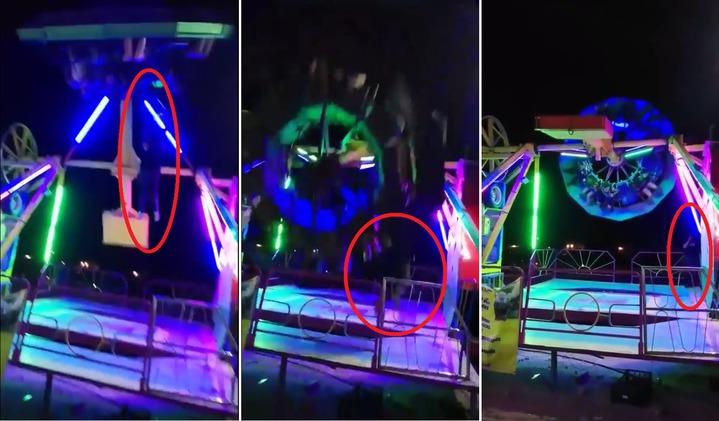 墨西哥北部契瓦瓦州(Chihuahua)華瑞茲城(Ciudad Juárez)在6月14日,發生一起遊樂設施意外,一名遊客從名為「The Pendulum」的遊樂設施上滑落並被撞上拖行,過程全被拍攝下。圖片擷取Youtube/De Todo Un Poco Dia A Dia影片