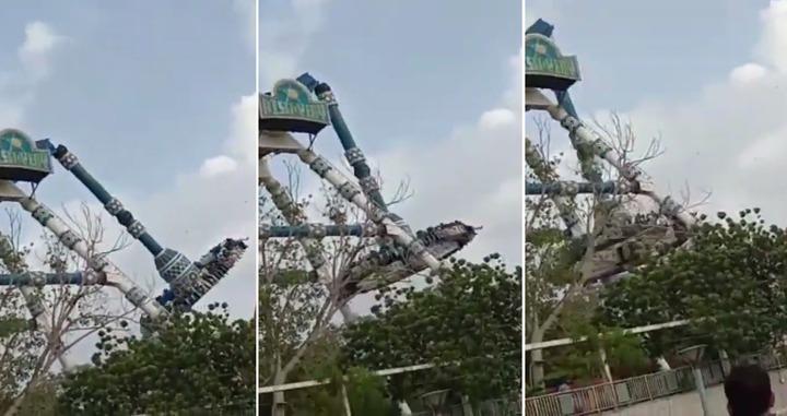 印度西部古吉拉特邦大城阿默達巴德(Ahmedabad)的一間遊樂園,14日發生嚴重意外,遊樂設施空中斷裂造成2死28傷。圖片擷取YouTube/DeshGujaratHD影片