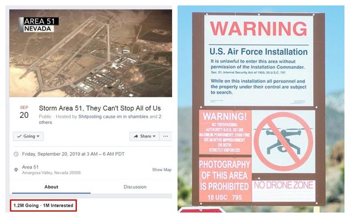 美國內華達州空軍基地以「51區」(Area 51)聞名,數十年來,陰謀論者一直認為那裡是政府研究外星人和存放相關殘骸的祕密基地。日前臉書上就有人發起要「硬闖51區去看外星人」的活動,竟吸引逾百萬人響應。美軍獲悉也慎重其事的出面警告。圖片擷取Facebook/OregonLive.com
