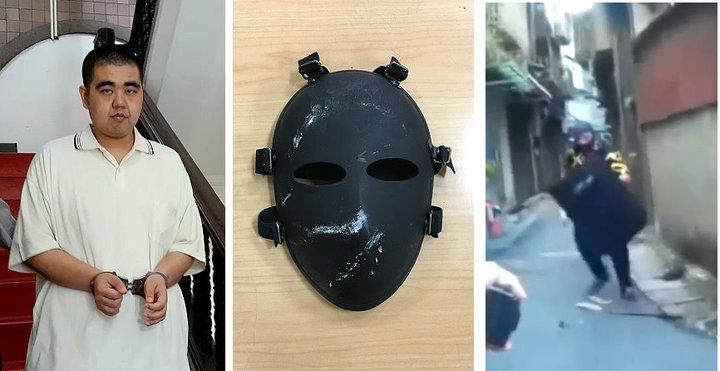 男子潘譽仁去年8月戴著僅露出雙眼的全鐵面罩,手持盾牌、開山刀,在新北市三重區街頭攻擊莊姓男子,台灣高等法院今改依傷害罪判他2年徒刑。圖/記者王宏舜攝影、警方提供(中、右)