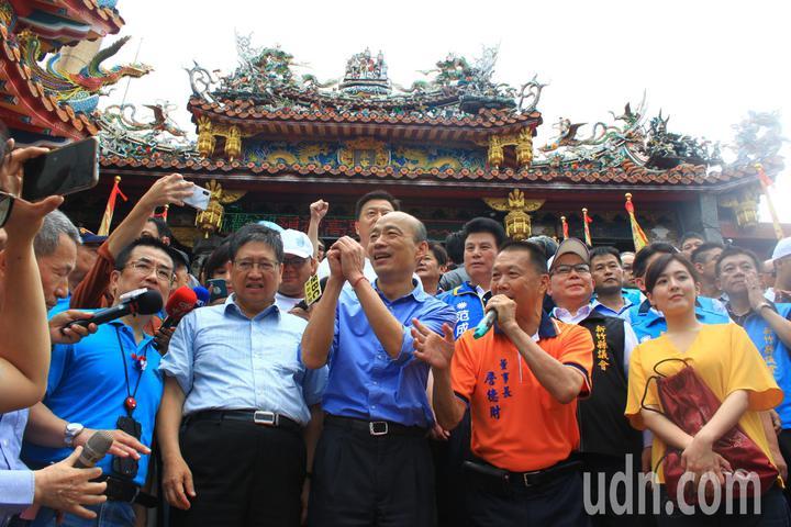 韓國瑜今天在現場發表感言,他指出非常感謝大家,未來台灣安全、人民有錢。記者郭政芬/攝影