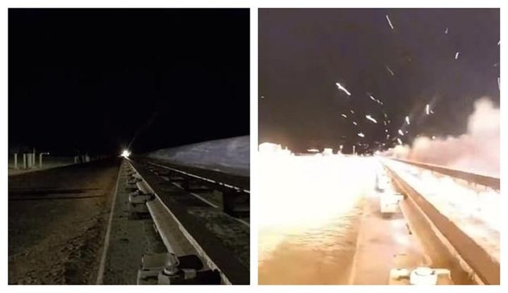 美國空軍日前新墨西哥州阿拉摩葛爾多附近的霍洛曼空軍基地測試超音速火箭橇,並且上網發布測試影片。由於火箭橇以8.6馬赫、時速10620公里的極速滑行,美軍也沒有使用高速鏡頭,導致肉眼根本看不到本體,只能聽到一聲聲爆。DAILYMAIL.COM/Air Force Test Center