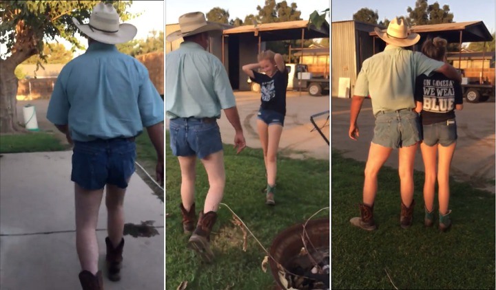 美國加州一位父親受不了女兒愛穿超短褲,於是「放大絕」,自己穿上超短褲,並威脅要穿這樣接送愛女上下學,女兒則驚恐表示「這是我見過最不舒服的畫面」。路透/ViralHog
