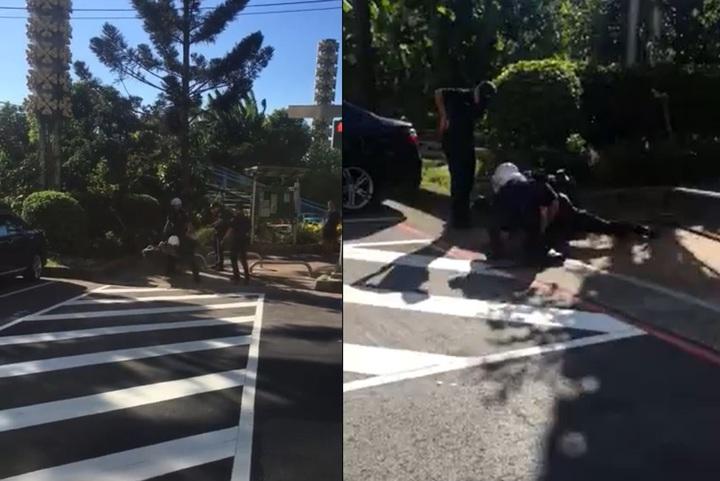 警方到場後張男還作勢欲攻擊員警,幸員警反應迅速,以過肩摔將張男制伏。記者柯毓庭/翻攝自臉書社團《我是新店人》