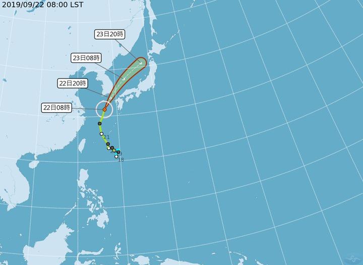 輕颱「塔巴」漸遠離台灣,往日、韓方向移動。圖/取自中央氣象局網站